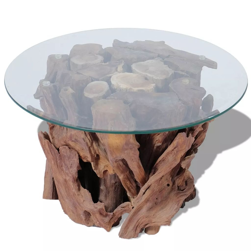 Modern Rustic Tempered Glass Top Coffee Table with Solid Teak Driftwood Base - Includes Modhaus Living Pen