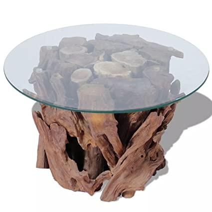 Modern Rustic Tempered Glass Top Coffee Table With Solid Teak Driftwood  Base   Includes Modhaus Living