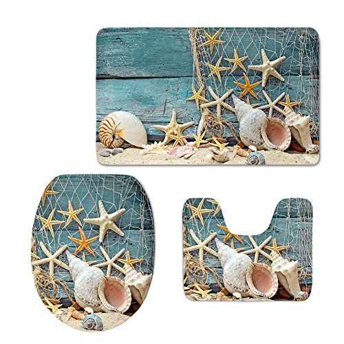 HUGS IDEA Seashell Pattern 3 Piece Bathroom Rug Set Inculded Toilet Seat Cover Bath Mat Lid Toilet Cover (Mats Rugs Bath Fish &)