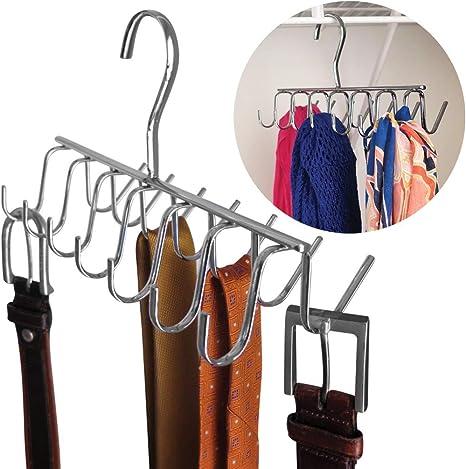 Storage Rack Silk Scarf Hanger Organizer Holes Circle Belt Tie Shelf HS