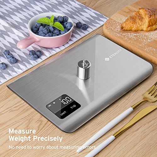 Etekcity EK7017 Digital Kitchen Multifunction Touch Scale, 11 lb 5 kg, Food Grade 304 Stainless Steel (Batteries Included), Large, Silver by Etekcity (Image #7)