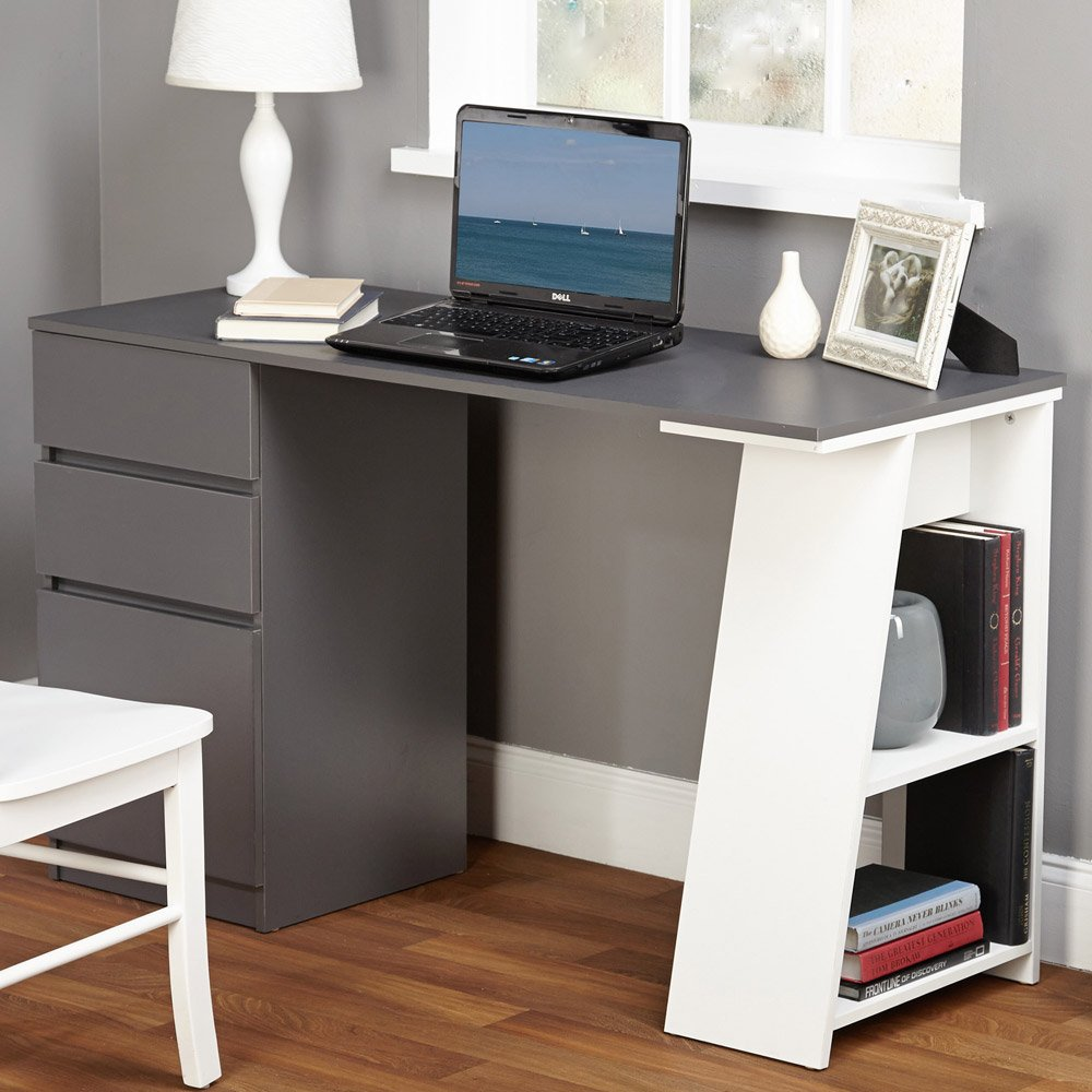 Modern Writing Computer Desk. Blend Modern Design and Function. Includes Shelves and Drawers for Storage. Perfect