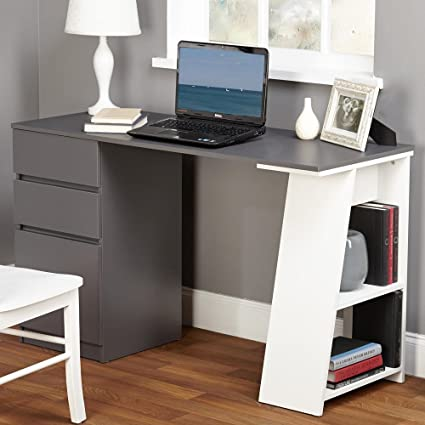 TMS Modern Writing Computer Desk. Blend Modern Design And Function.  Includes Shelves And Drawers