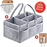 Cribs with Attached Changing Table Dresser Putska Diaper Caddy Organizer: Nursery Storage Basket For All Baby Essentials, Portable Diaper Holder Bag For Car And Changing Table –With Pacifier Clips, Bandana Bibs