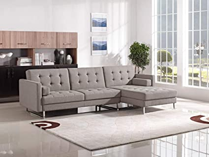 Amazon.com: HomeRoots Modern Brown Fabric Sectional Sofa ...