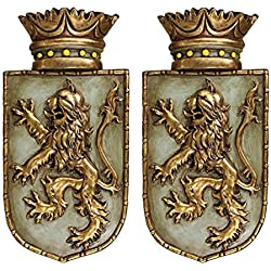 Design Toscano Medieval Rampant Lion Shield Wall Sculptures (Set of Two)