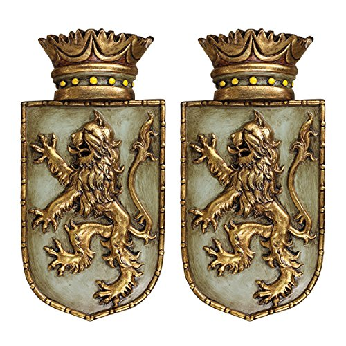 Design Toscano Medieval Rampant Lion Shield Wall Sculptures (Set of (Medieval Home Decor)