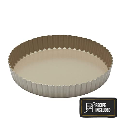 """Kitchen Craft Paul Hollywood Non-Stick Fluted Tart Tin/Quiche Pan with Loose Base, 23 cm (9"""") (with Recipe)"""