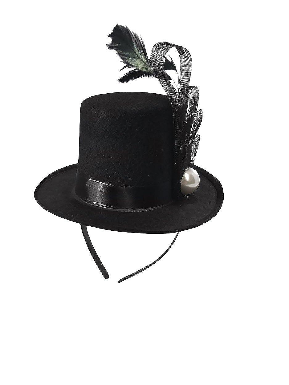 Amazon.com  Black Mini Top Hat Fascinator On Headband Feather Pearl Stud  Dancers Showgirl  Clothing 5b16d97e0d0