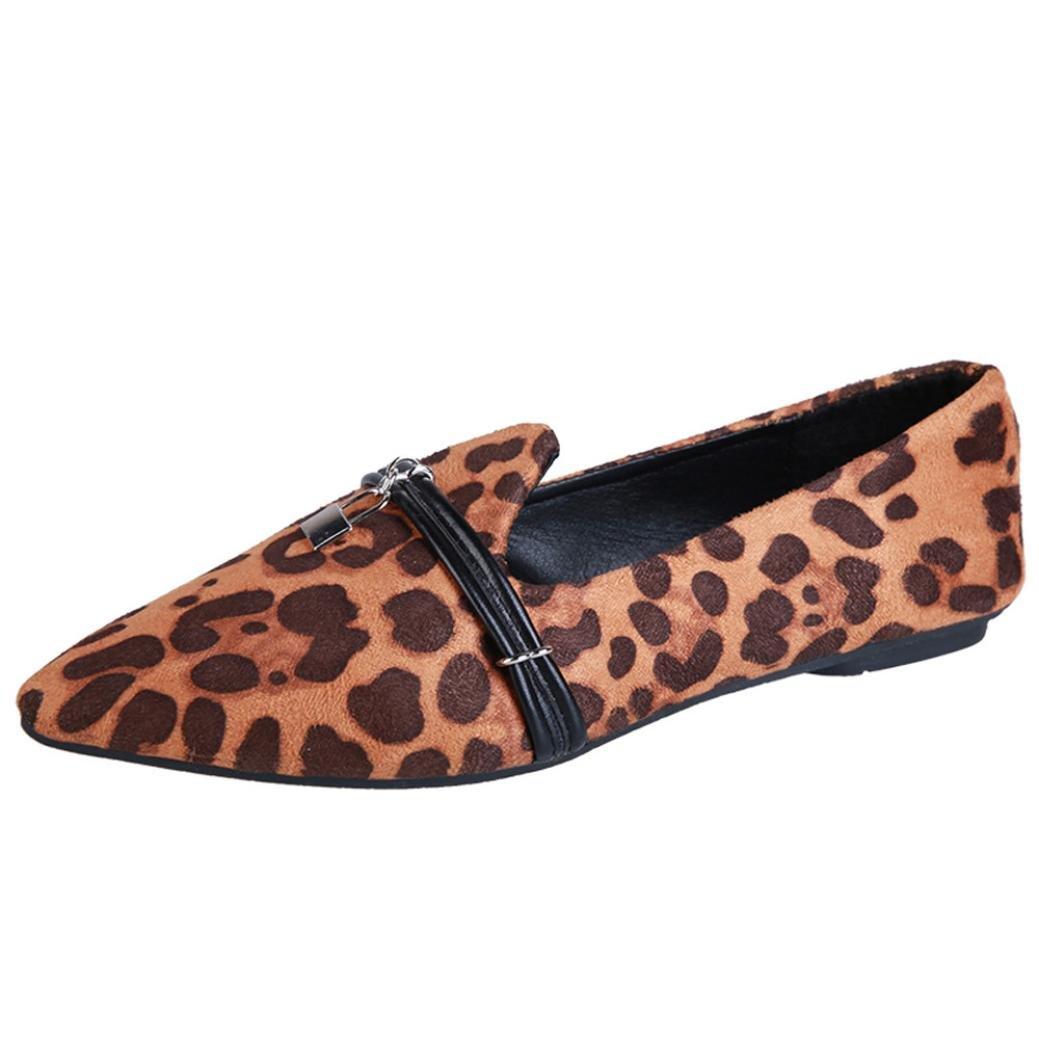 Fiaya Women's Classic Pointy Toe Leopard Faux Suede Ballet Flat Shoes (Brown, US:6.5)