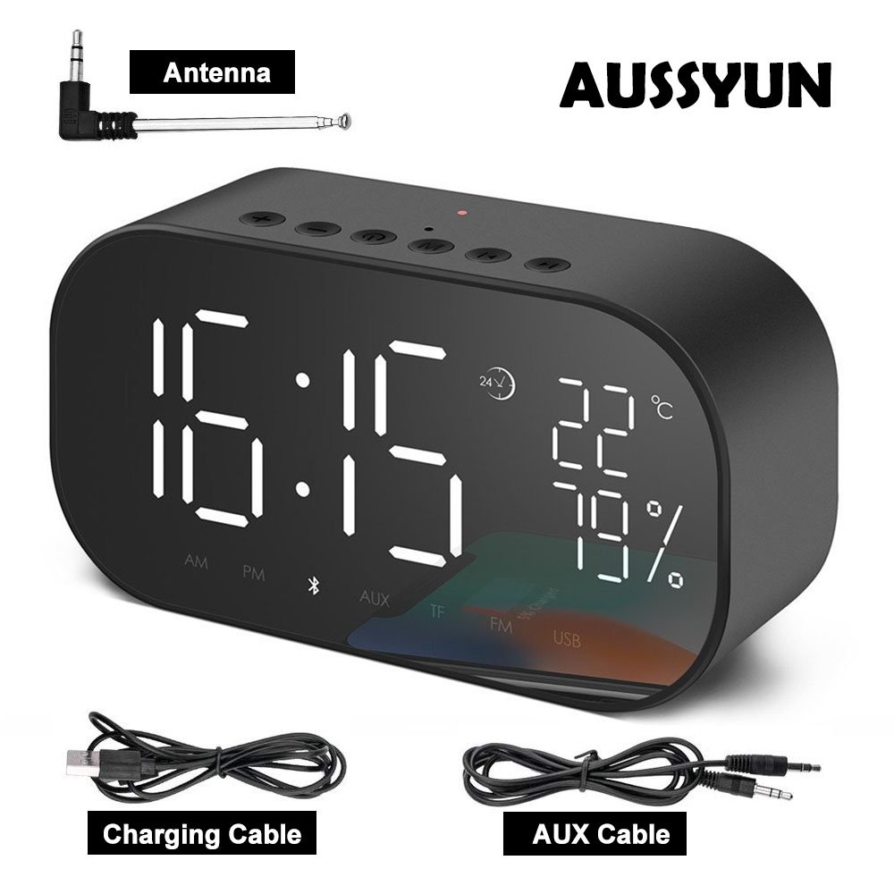 AUSSYUN Mini Portable Multifuntional Bluetooth Super Bass Speaker, Digital Alarm Clock with Thermometer, Dimmable LED Display, Dual Alarm, TF Card Slot, USB Charging Port, FM Radio(Black)