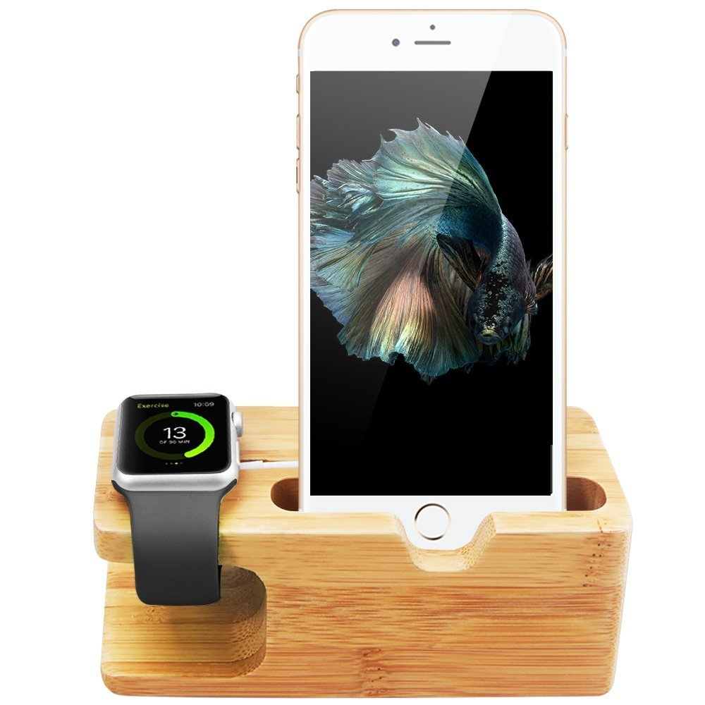 WOWO Cell Phone and iWatch Stand 3 in 1 Bamboo Wood Charging Dock Station Office Electronic Organizer Stock Cradle Holder Compatible for iWatch iPhone Samsung etc P02
