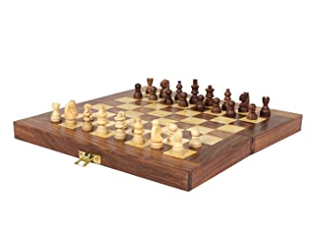 Desi Karigar Wooden Handmade Chess Board Small Chess Pieces Foldable Size 6  Inches (Non