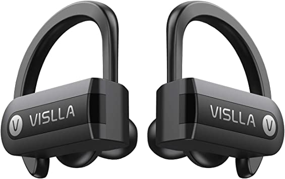 Amazon Com Wireless Earbuds Vislla 5 0 Bluetooth Sport Headphones Stereo Bass Sound Tws Ear Buds Over Ear Sweatproof Headset 8 Hours Playtime Wireless Earphones With Mic Charging Case For Running Working Out Home
