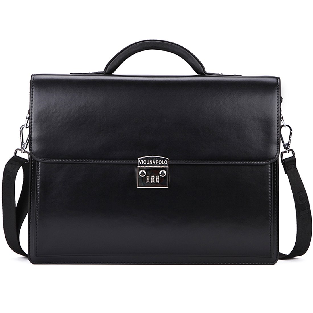 VICUNA POLO Briefcase For Men Handbag Business Man Bag Laptop Bag With Code-Lock (black)