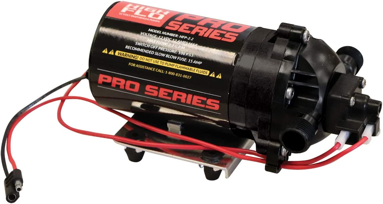 Fimco High-Flo 5281325 HFP-2.2 Pro Series 12 Volt, 2.2 GPM, 100 PSI Diaphragm On-Demand Sprayer Pump