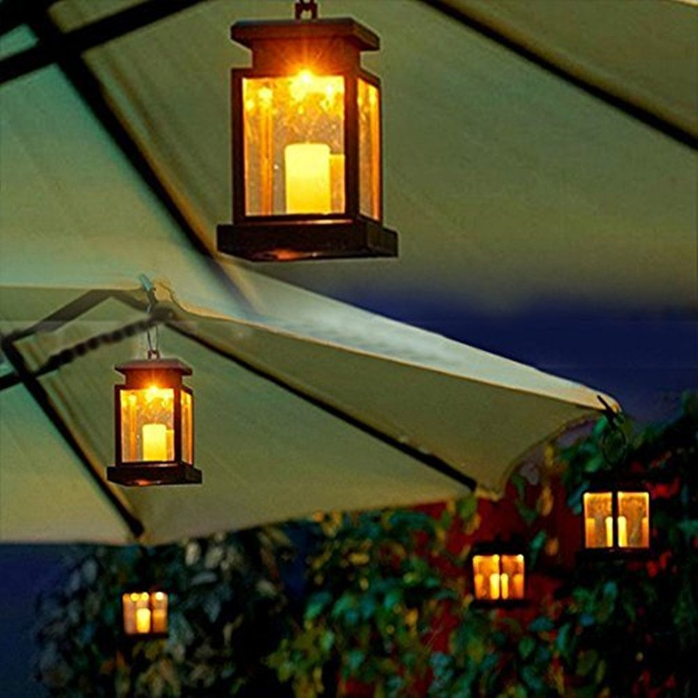 Hanging outdoor candle lanterns for patio - Amazon Com Hkyh 2 Pack Led Solar Mission Lantern Vintage Solar Powered Waterproof Hanging Umbrella Lantern Candle Lights Led With Clamp Beach Umbrella
