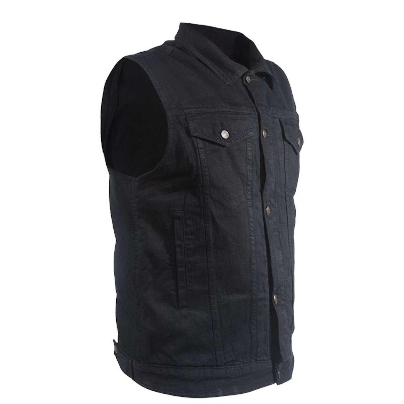 Ultimate Leather Apparel Mens Black Denim Motorcycle Vest Fold Down Collar with Button Snap Front