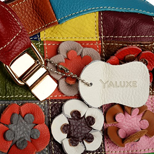 BIG Cross Sun Shoulder Genuine Body Yaluxe Leather Stripe Spring Multicolor Women's SALE OFF 70 Flower Bag Purse Satchel 60qax6pr