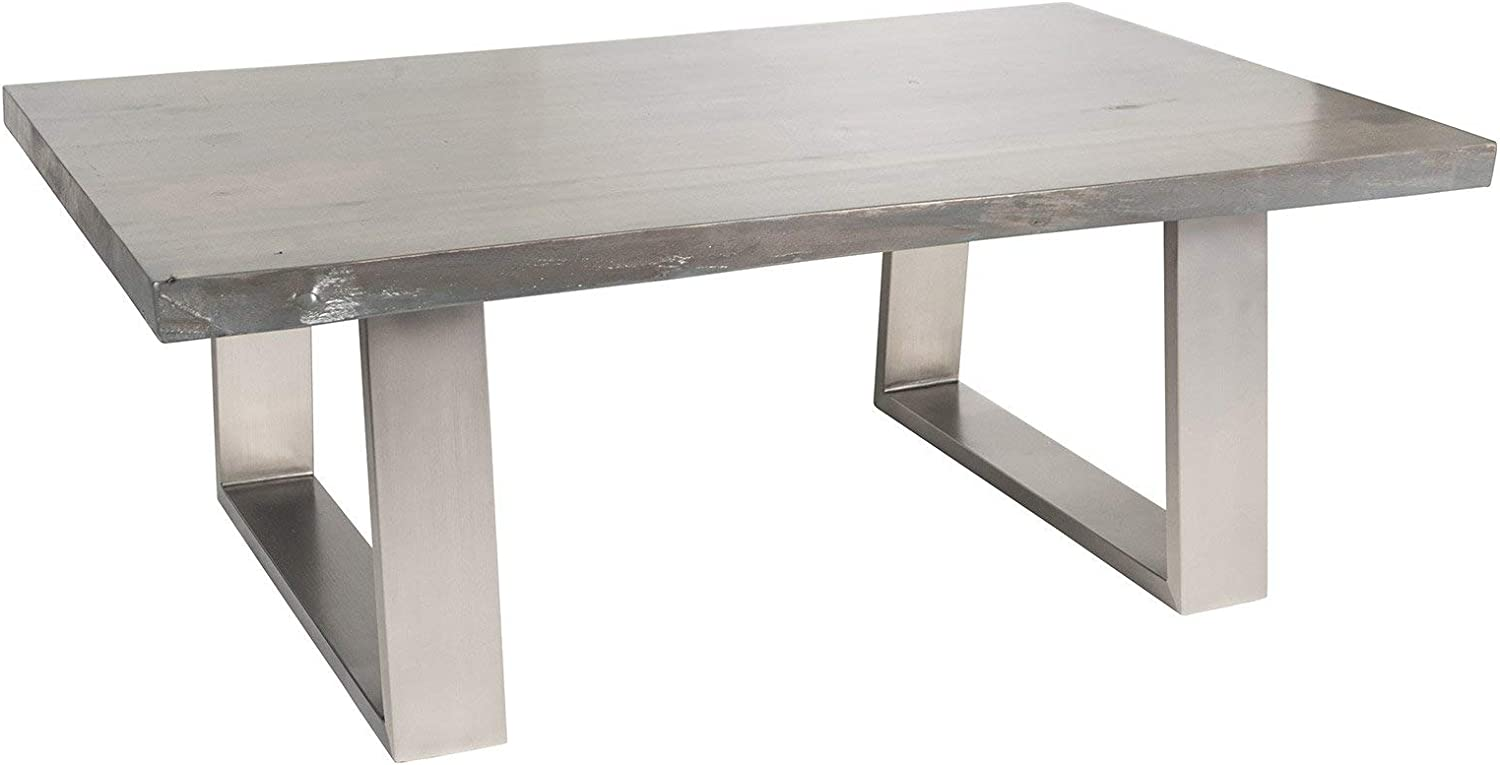 Amazon Com Live Edge Slab Aged Grey Coffee Table With Metal Base