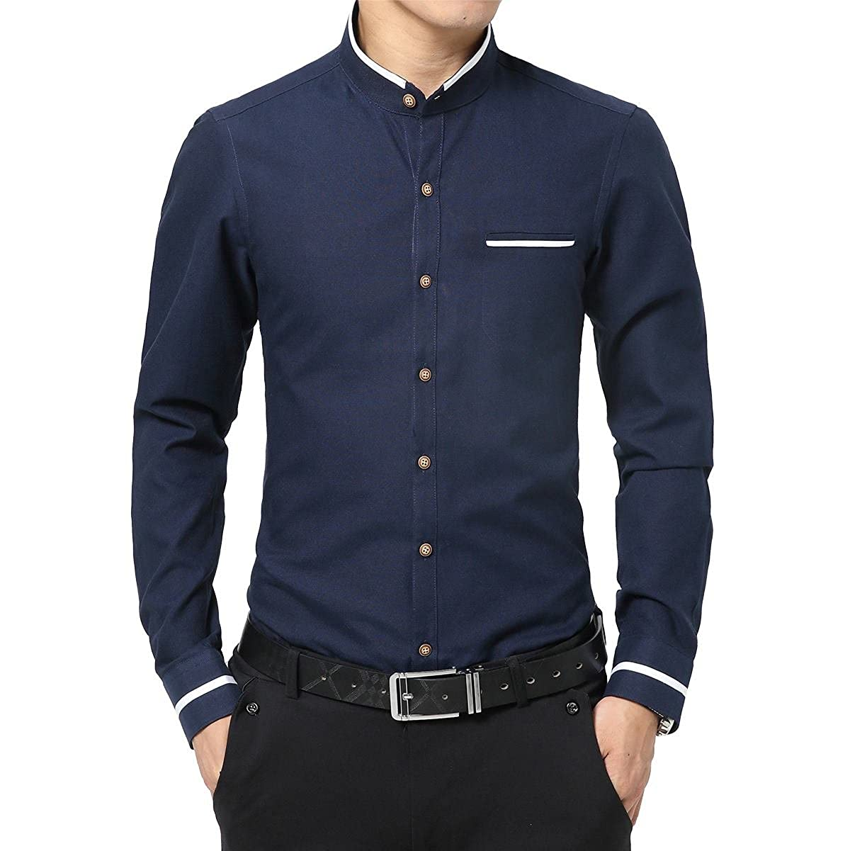CongYee Men Stand Collar Solid Business Long Sleeve Easy-Ironing Shirts