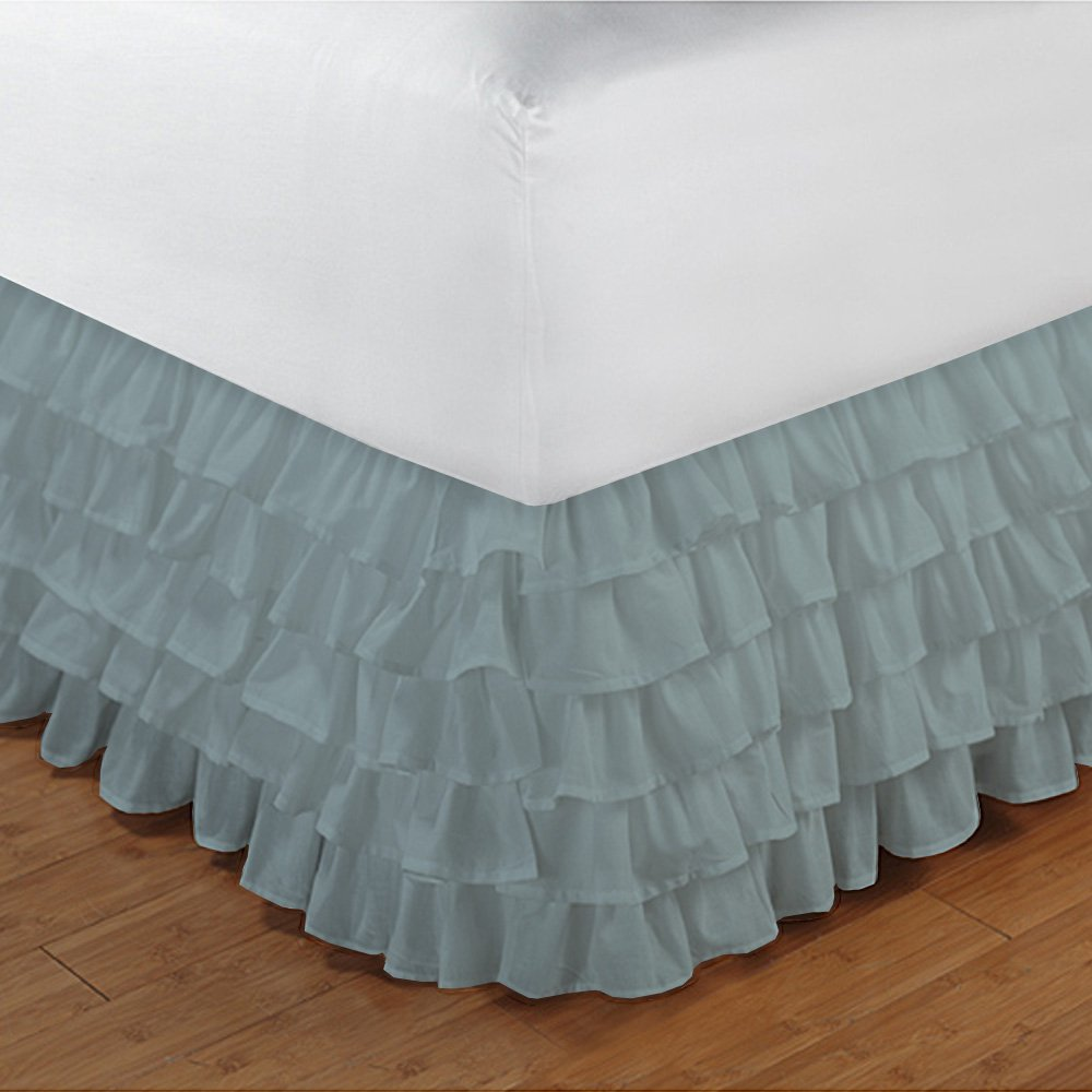 Relaxare Full XXL 300TC 100% Egyptian Cotton Aqua Blue Solid 1PCs Multi Ruffle Bedskirt Solid (Drop Length: 16 inches) - Ultra Soft Breathable Premium Fabric