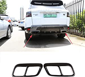YIWANG 304 Stainless Steel Pipe Throat Exhaust Outputs Tail Frame Trim Cover 2Pcs For Land Rover Range Rover Sport 2018 2019 Auto Accessories (Gloss Black)