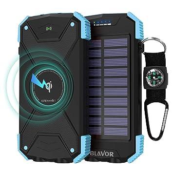 BLAVOR Cargador Solar Móvil 10000mAh Batería Externa Portátil Qi Power Bank Tipo C Puerto de Entrada Linterna Dual, Brújula, A Prueba de Salpicaduras, ...