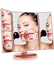 FASCINATE Specchio Trucco Illuminato,Specchio per Trucco con Luci Ingranditore 3X 2X 1x 21 LEDs Rotazione 180°Touch Screen Regolabile Tri-Pieghevole Specchio Luminoso Trucco