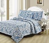DaDa Bedding Victorian Bedspread Set - Elegant Enchanted Breeze Damask Jacquard Coverlet - Bright Vibrant Floral Blue/White - Queen - 3-Pieces