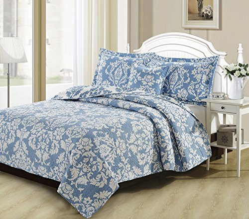 Gypsy Floral Bedding Collection (DaDa Bedding Collection Enchanted Breeze Elegant Victorian Damask Jacquard Quilted Coverlet Bedspread Set - Bright Vibrant Floral Light Blue & White Print - Twin - 2-Pieces.)