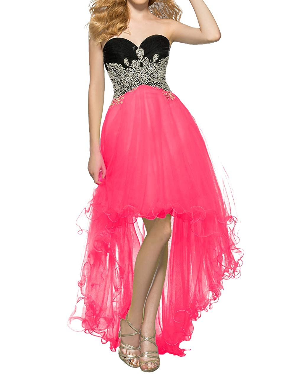 Hot Pink Uther Women's Tulle HiLow Beaded Prom Dresses Strapless Evening Homecoming Cocktail Gowns
