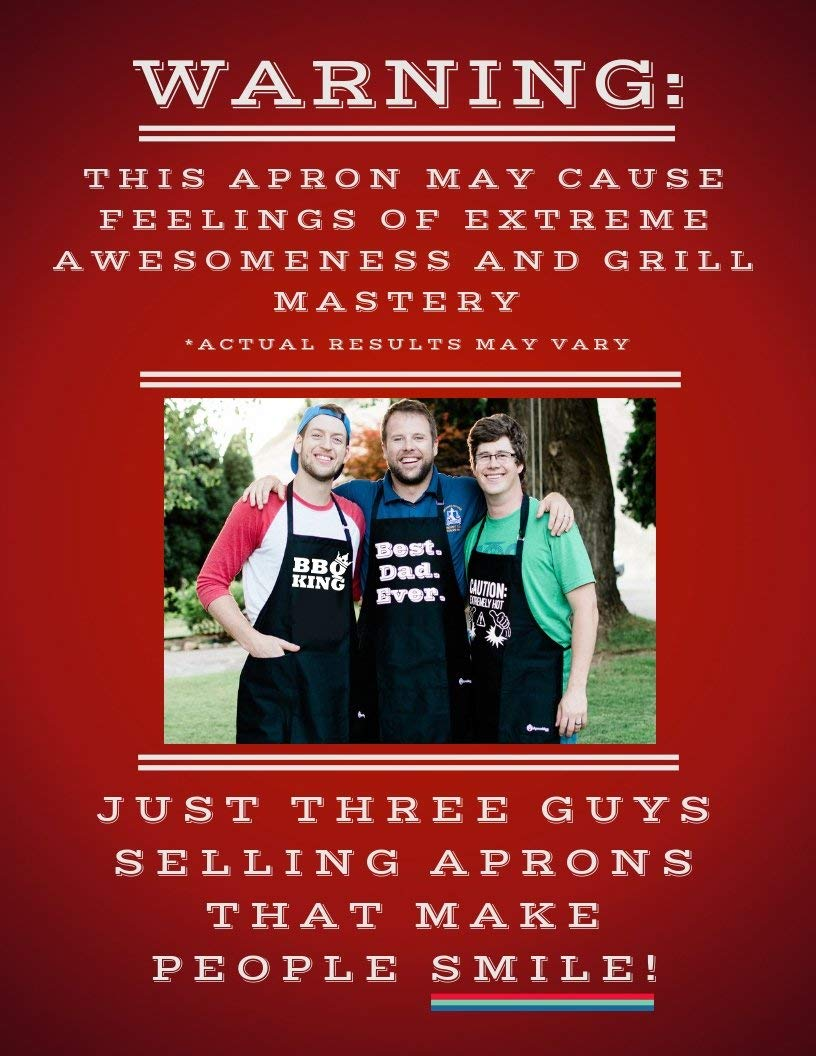 BBQ Grill Apron - Super Dad - Funny Apron For Dad - 1 Size Fits All Chef Apron High Quality Poly/Cotton 4 Utility Pockets, Adjustable Neck and Extra Long Waist Ties by ApronMen (Image #4)