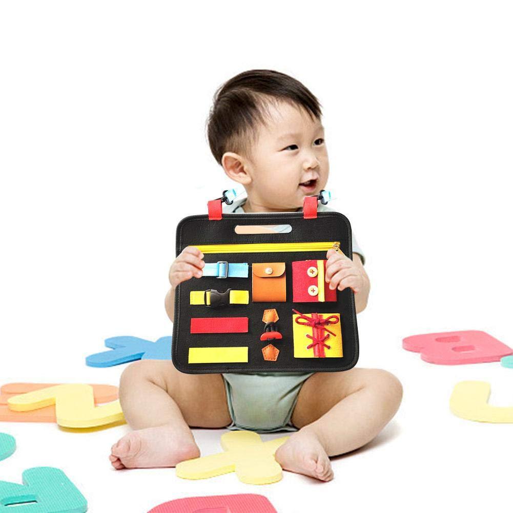 Jouet /Éducatif pour B/éb/é 1-5 Ans- 12.4X11.5X3.7in Bouton,Dentelle Planche dapprentissage Montessori Panneau De Feutre dapprentissage pour Apprendre /À Zipper Goodde Jouets /Éducatifs en Feutre