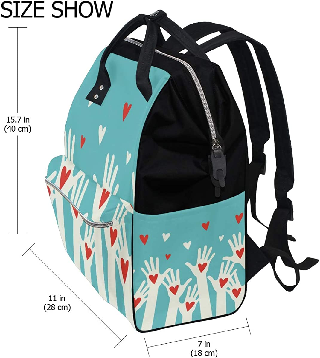 imobaby Hands With Red Hearts Changing Bags Large Capacity Handbags Canvas Shoulder Bag Backpack