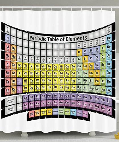 Periodic Table of Elements PHD Gifts Chemistry Student Modern Family Decor Science Lover Smart Educational Home Textile Design Fabric Shower Curtain - Gray Coral Yellow Blue Purple Brown