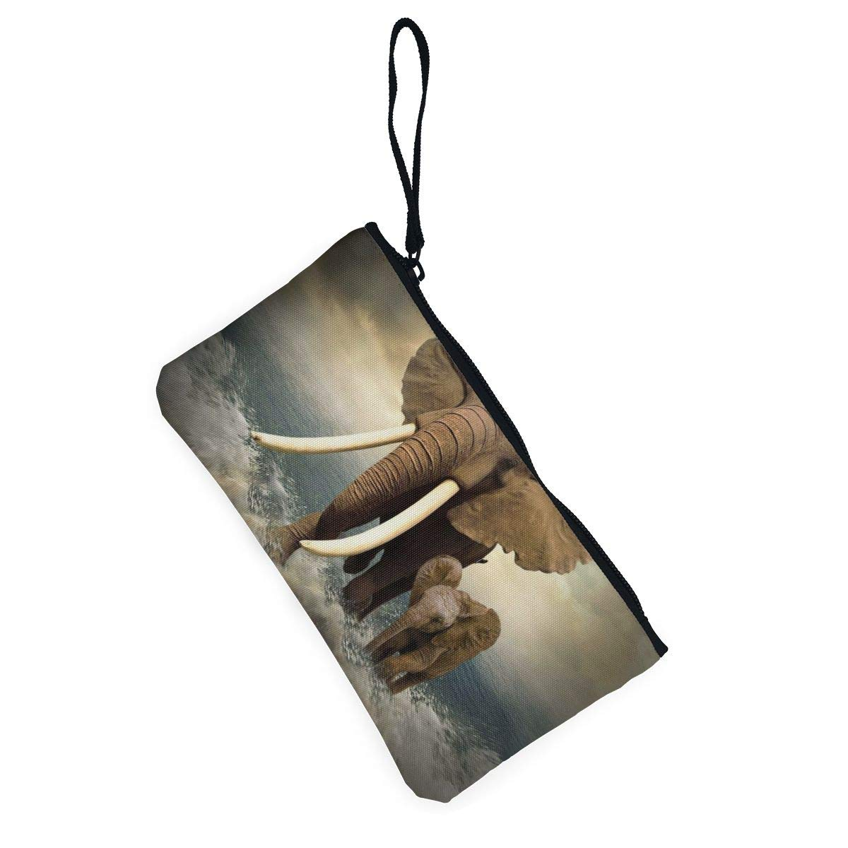 Canvas Cash Coin Purse,Walking Elephant In The Water Print Make Up Bag Zipper Small Purse Wallets