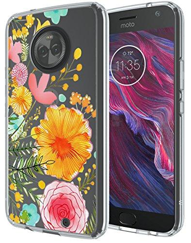 Moto X4 Case, SWODERS Flower Clear Design Shock Absorbing TPU + Hard PC Bumper Case Cover For Motorola Moto X4 - Orange