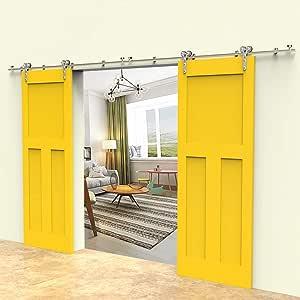 CCJH 7.5FT-229cm Herraje para Puerta Corredera Kit de Accesorios para Puertas Correderas Rueda Riel Juego para Dos Puertas de Madera/Cristal: Amazon.es: Bricolaje y herramientas