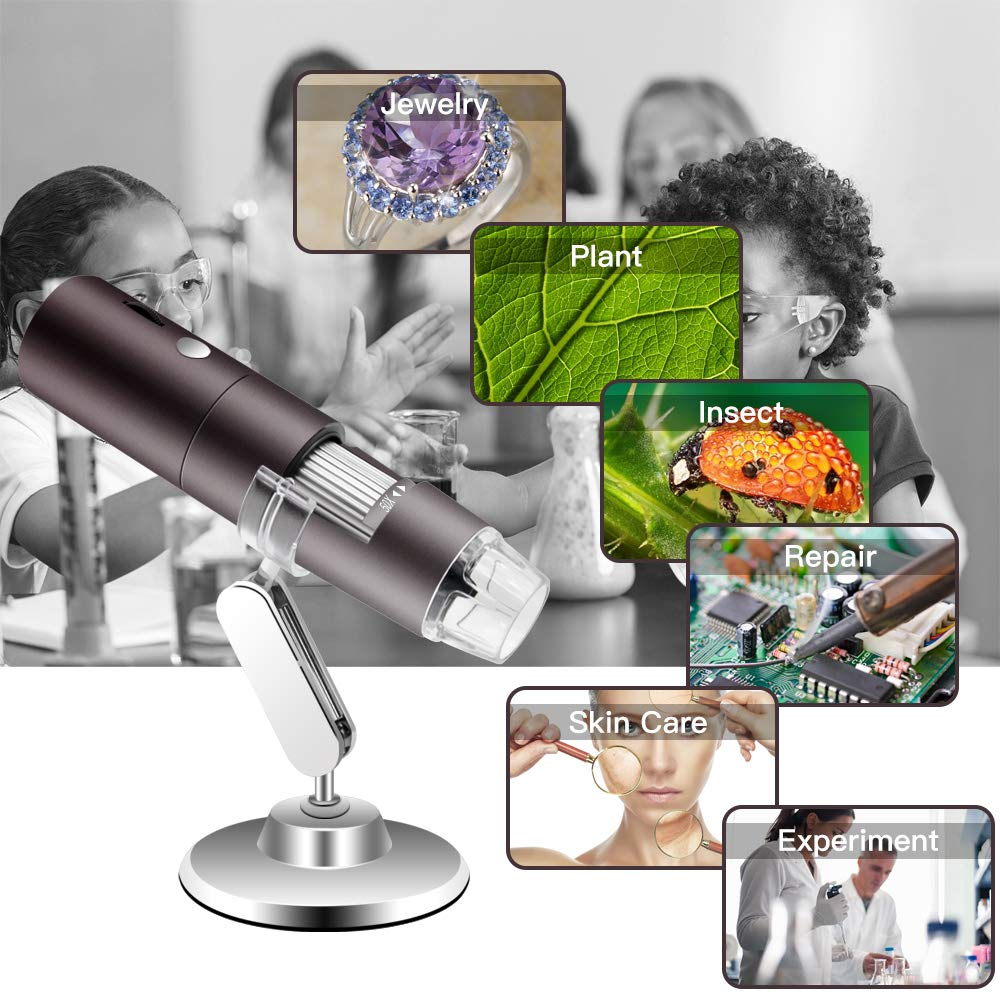 Veroyi Wireless Digital Microscope 1080P 50X to 1000X WiFi Pocket Magnification Magnifier, Rechargeable USB Microscope (Gray) by Veroyi (Image #6)