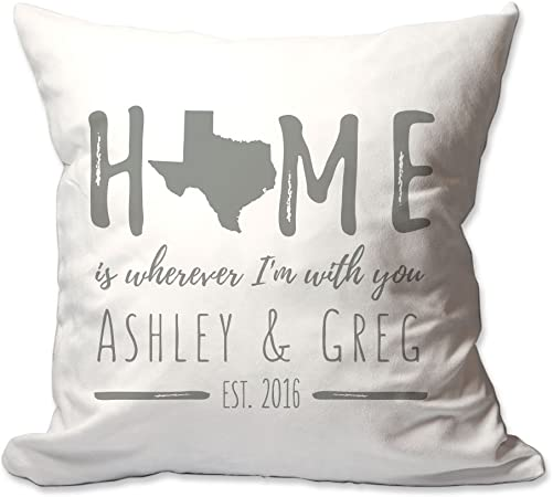 Pattern Pop Personalized Texas Home is Wherever I m with You Throw Pillow