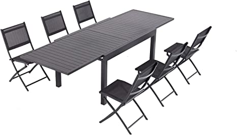 Laxllent Tavolo Da Giardino Allungabile 135 270cm In Alluminio 6 Sedie Pieghevoli In Textilene Nero Per Terrazza E Giardino Nero Amazon It Giardino E Giardinaggio