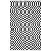 Fab Habitat Reversible Cotton Area Rugs | Rugs Living Room, Bathroom Rug, Kitchen Rug | Machine Washable | Samsara - Charcoal Gray & White | 3 x 5