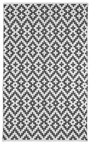 Fab Habitat Samsara Charcoal Gray and White Flat Weave Recycled Cotton Rug, 3' x 5'