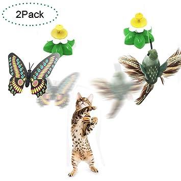 Funny Spinner interactivo gato juguete eléctrico giratorio mariposa gato mascota juguete pequeño pájaros girando wiggler gatito jugar juguete gato teaser ...