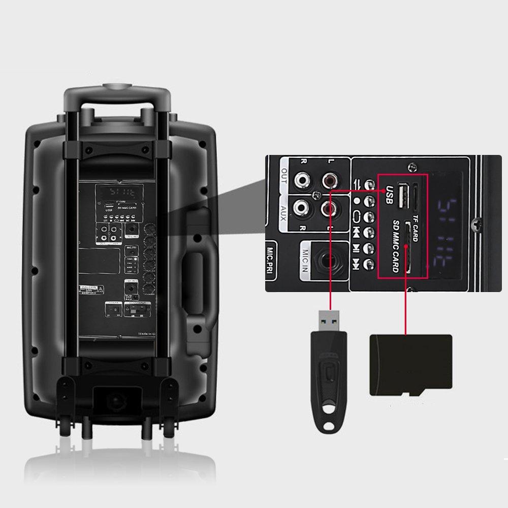 ISE Enceinte sono portable 12//30 cm 700W à LED RVB 12 VHF ISE-SY14009-FR Haut parleur avec micro sans fil et micro fil et lecteur MP3 USB SD, chassis ABS, batterie longue durée