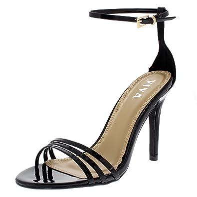7ce0cfc8ff8 Amazon.com | Womens Strappy Open Toe Ankle Strap Stiletto Barely ...