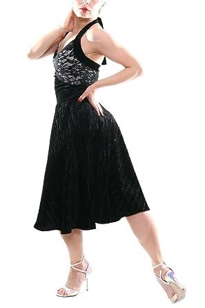 f31a15e1f29b Black Velvet Tango Dress with Full Skirt, Argentine Tango Dress (XS)