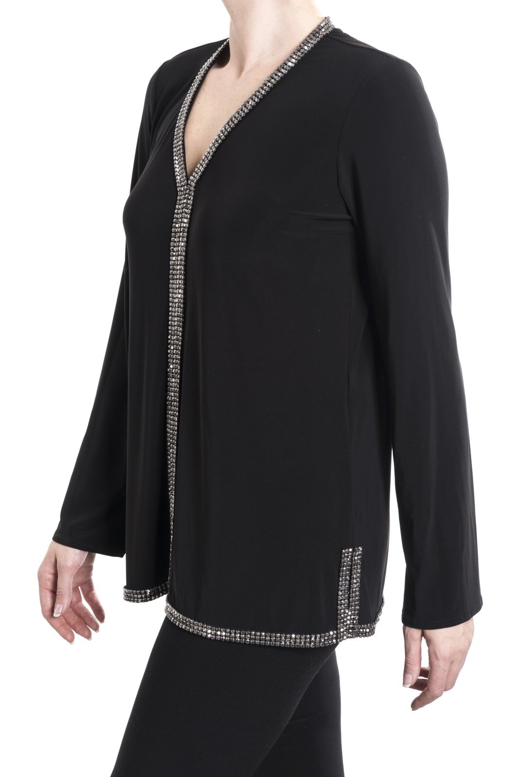 Joseph Ribkoff Black Sequin Trim Long Sleeve Blouse Style 181070 Size 8
