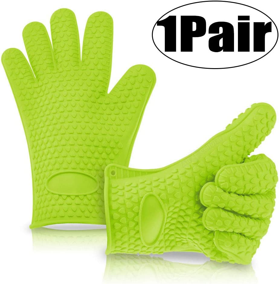 Oven Gloves & Grilling Gloves for Women Men Heat Resistant Kitchen Accessories Oven Mitts and Potholders for Cooking Baking Outdoor BBQ Tools Non-slip Hand Protectors for Hot Plate Dish 1 Pair Green